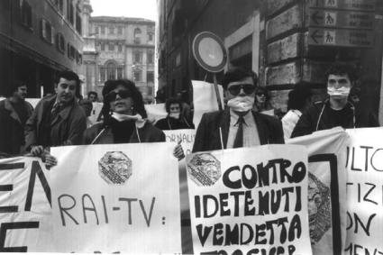 davanti al Senato per l'indulto e la difesa della legge Gozzini 1990