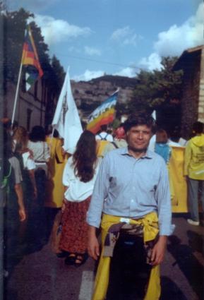 Andrea Tamburi alla marcia Perugia Assisi per il blocco delle spese militari 1985