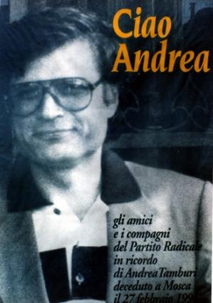 Il manifesto di commemorazione per la morte di Andrea Tamburi, 1994